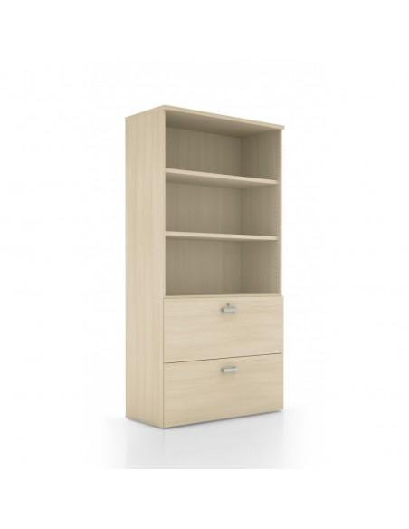 Armoire bibliothèque et tiroirs pour dossiers suspendus
